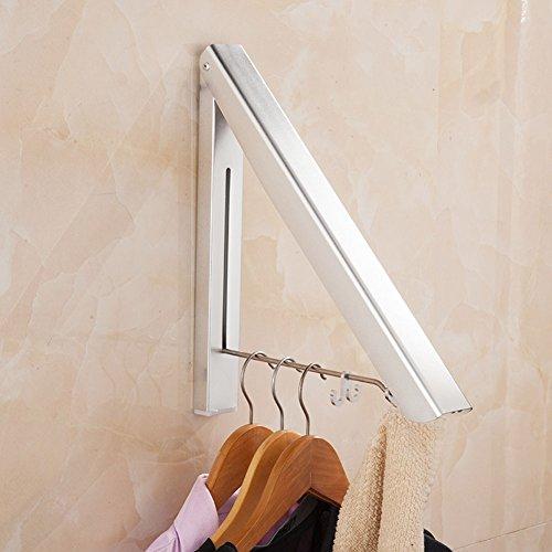 LEF Retractable Folding Clothes Hanger Racks Portable Adjustable Wall Mounted Aluminum Organizer Stand - Space Saving single