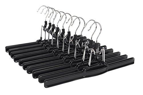 JS Hanger Non-slip Solid Metal Slack Hanger with Black Friction for Pants and Skirts 10-Pack