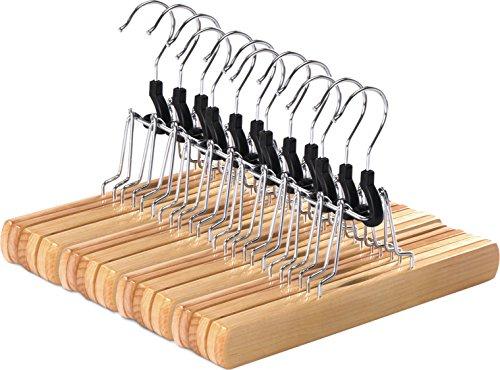 Non-Slip Wooden Hanger - Slack Hanger - Wood Skirt Hangers - Pack of 12 by Utopia Home Natural Finish