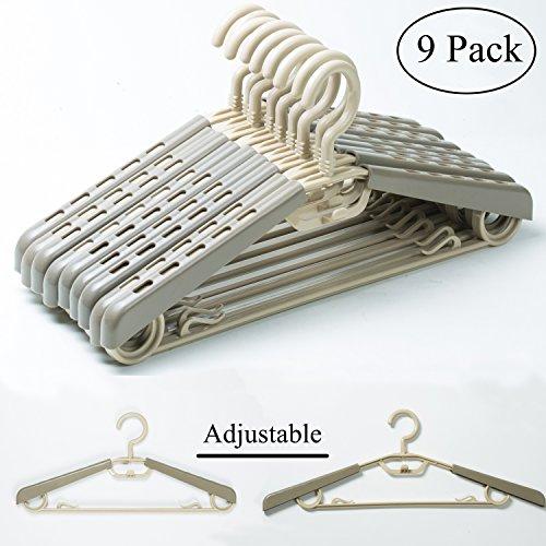 KChoies 9 Pack Plastic Extra Wide Adjustable Shoulder Suits Coats Cascading Heavy Duty Plus Size Garment Hangers with Swivel Hook Gray