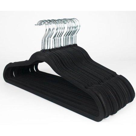 GOMYHOM Black 200 Packs 45cm Heavy Duty Non-Slip Clothes Hangers Space Saving Velvet SuitShirtPants Hangers Set in Bulk Sale Wholesale price