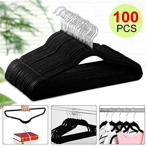 World Pride Thin Non-Slip Velvet Clothes Hanger Pack of 100 Black