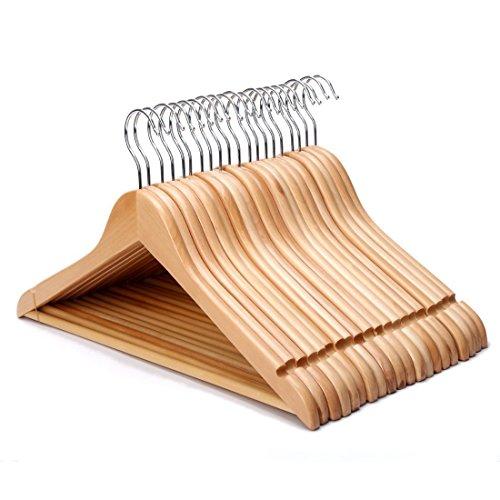 20 Pack Wood Suit Hangers Non-Slip Wood Coat Hangers Solid Wooden Clothes Hangers Natural Wooden Hanger