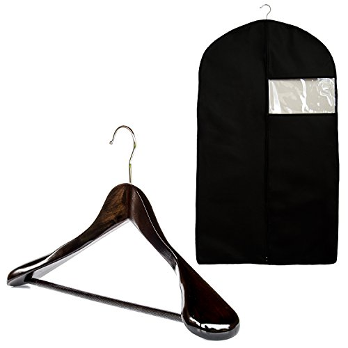 Garment Bag and Wood Suit Hanger by Clutter Mate – Breathable Garment Suit Bag Cover and Wood Hanger for Travel Suit Carriers and Storage - Clear Protector Window