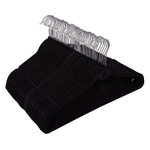 50 Pack Black Velvet Hangers - Non Slip Hangers with Cascading Hooks - Thin Hangers - Non Slip Hangers Black 175 x 92 x 02 Inches