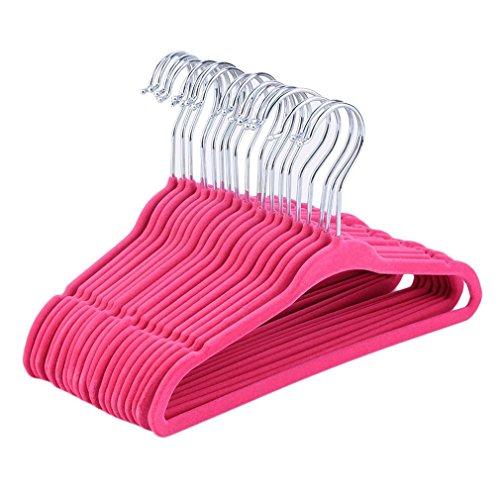 Belovedkai 20PCS Kids Baby Velvet Hangers - Small Clothes Hanger - Non Slip - Space Saver Pink