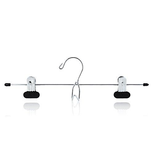 HANGERWORLD 12 Chrome 134inch Metal Pants Skirt Adjustable Black Non Slip Clip Coat Clothes Garment Hangers Accessory Hook