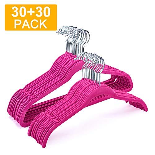 HOUSE DAY Velvet Hangers Non Slip Velvet SuitDress Hangers 60 Pack Velvet Shirt Hangers 165175 Inch Space Saving Velvet Clothes Hanger Premium Non Slip Hanger for Coats Suit DressHot Pink