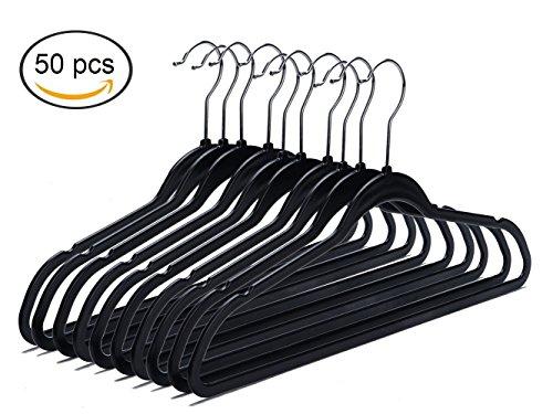 Quality Plastic Non Velvet Non-Flocked Spacemaker Hangers Black Swivel Hook- 50