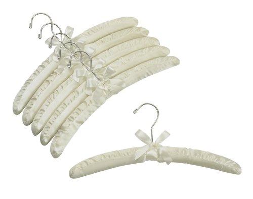 Ivory Satin Padded Hangers w Chrome Hook - Pack of 6
