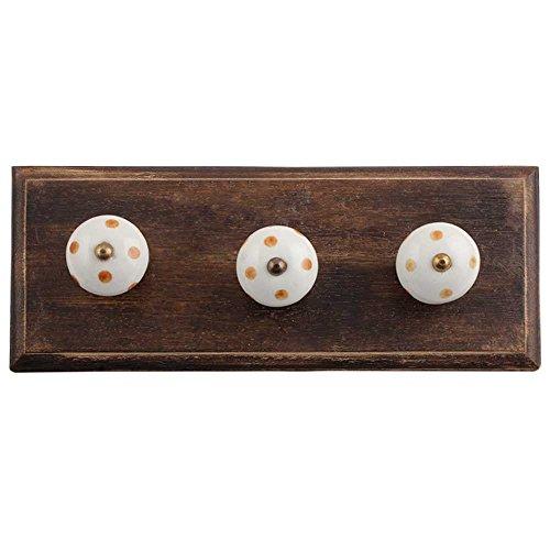 IndianShelf Handmade 3 Piece Wooden White Brown Dot Wooden Antique Look Wall Hanging Key HooksCloth Coats HangersKey Holders