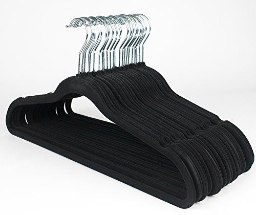 Ultra Thin No Slip Black Velvet Suit Dress Shirt Hanger Set of 25