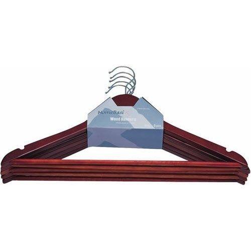 Homebasix Hea00040g 5-pc Wood Mahogany Heavy Duty Clothes Hanger Set