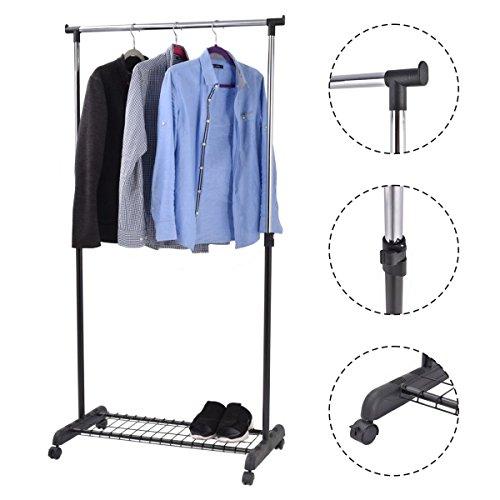 New Adjustable Rolling Garment Rack Heavy Duty Clothes Hanger w Shoe Rack Portable