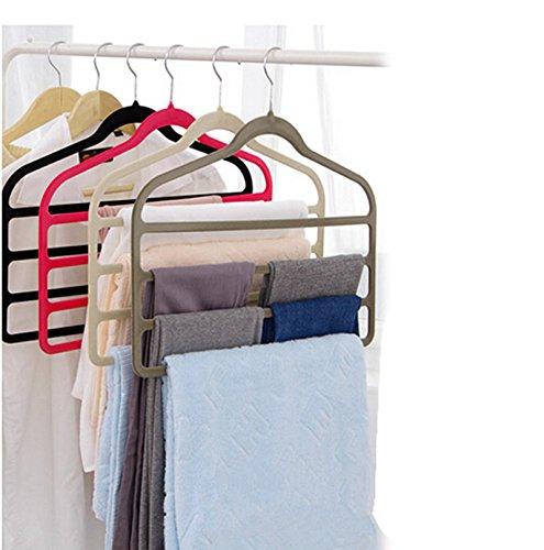Magic Multi Layer Pants Drying Flocking Hanger Trousers Holder No Slip Closet Hangers Space Saver Clothes Scarf Storage Hanging Rack 4 Pcs Black