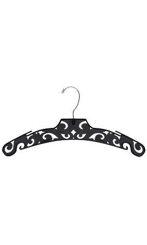 50 Hangers Black Damask carved pattern Plastic Boutique Dress Hangers 15 Inch