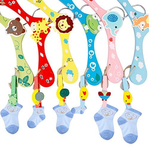A-SZCXTOP 6PCS Colorful Cartoon Hangers Baby kids Childrens Wood Towel Coat Clothes Hangers with Hooks