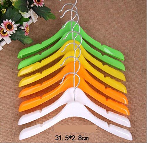 GFYWZ Plastic Child Hanger Chromatic Sturdy Non slip Portable Coat Hangers Pack of 10  white  31528cm