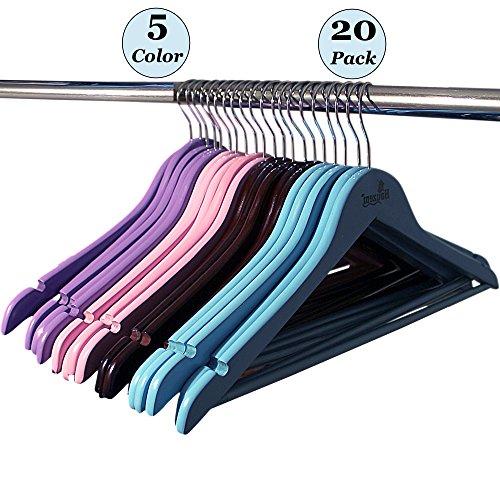 "Wooden Color Hangers by Houzemâ""¢ Set of 20 Non-Slip Notched Shoulders - Hanger for Coat Pants Suits Dresses Jackets Stockings"