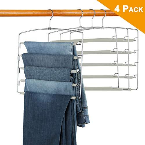 LBSUN Pants Hangers Non Slip Slacks Hangers Space Saving Stainless Steel Clothes Organizer Hanger for ScarfsTowelsBeltsPants 4 Pack Grey- 5 Tiers Pants Hangers