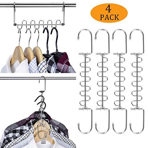 MEOKEY Magic Cloth Hanger Metal Cascading Hangers Space Saving Closet Organizer for Wardrobe Storage 4 Pack