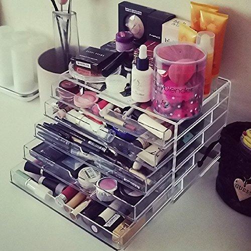 CO-Z Clear Acrylic Makeup Organizer 5 Drawers Cosmetics Jewelry Storage Case Display Multipurpose Bathroom Space- Saving