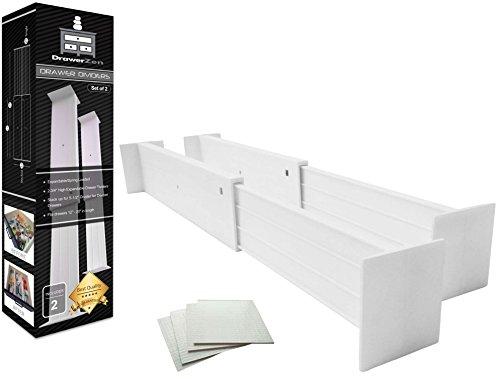 Adjustable Drawer Dividers and Drawer Organizer by DrawerZen - Clutter Free Kitchen Bathroom Bedroom Dresser Drawer Organization - White Expandable Spring Loaded Drawer Divider Set of 2