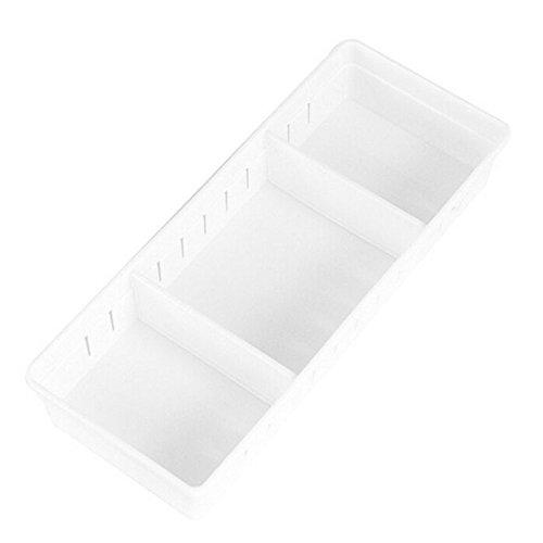 C-Pioneer Adjustable DIY Plastic Drawer Divider Home Kitchen Stationary Organizer Storage Box L White