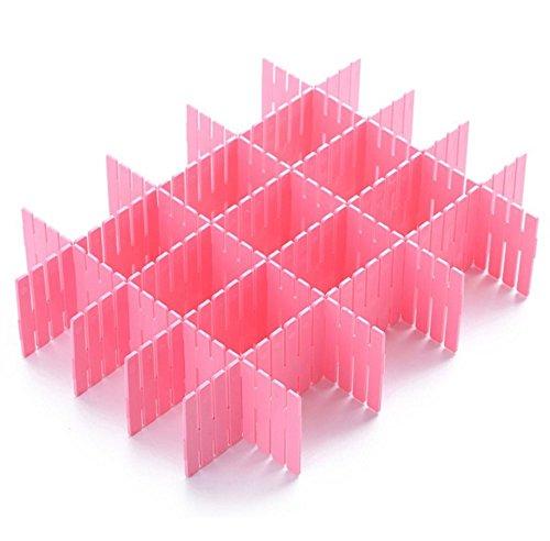 Koogel 8 PCS Plastic DIY Adjustable Drawer Partition Dresser Divider Storage Organizer 122 2-34Pink