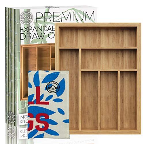 Bamboo Silverware Drawer Organizer - Expandable bamboo utensil drawer organizer - Kitchen Silverware Holder 100 Pure Bamboo - Premium Silverware Caddy - Exclusive Bamboo Expandable Drawer Organizer