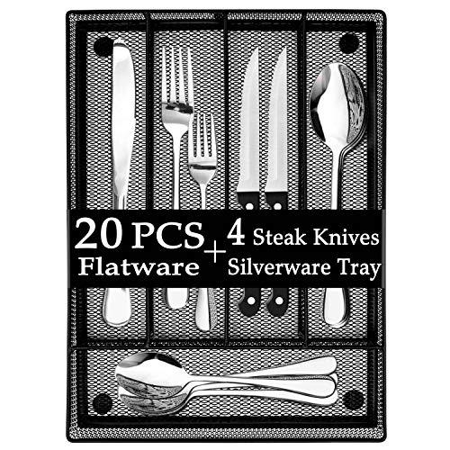 LIANYU 20-Piece Silverware Set with Utensil Drawer Organizer Plus 4 Steak Knives Stainless Steel Flatware Cutlery Set Modern Eating Utensils Tableware Service for 4 Dishwasher Safe
