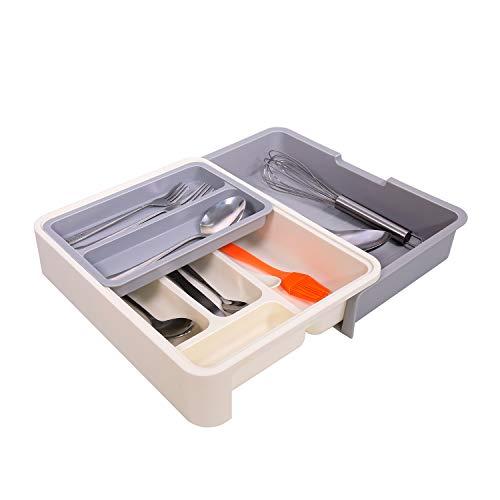 NNHOM Expandable Kitchen Drawer OrganizerAdjustable Small Utensil Silverware Organizer Plastic Cutlery Dividers Organizer Tray 7 Compartment Spoon Flatware Divider Holder