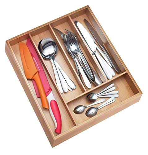 Pristine Bamboo 10 inch Non-Slip Extra Deep Silverware Drawer Organizer Silverware Holder For Drawer Wooden Cutlery Tray Wood Utensil Flatware Organizer Kitchen Drawer Organizers Dividers