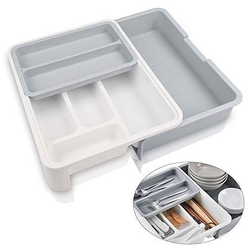 ShineMe Utensil Drawer Organizer Kitchen Drawer Organizer For Utensils Adjustable Organizers Plastic Great Organizer For Cutlery Drawer Gray