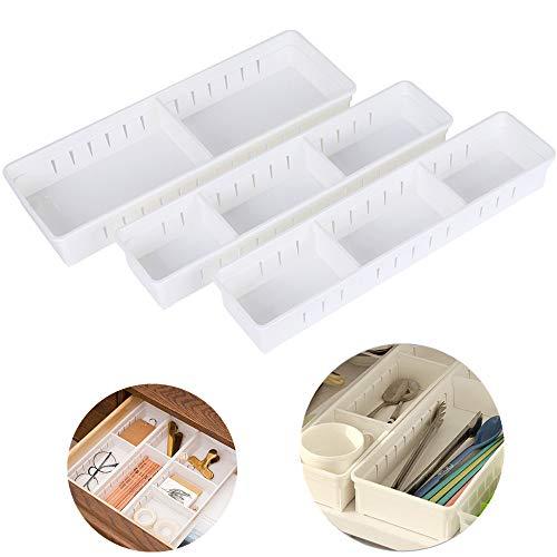 Silverware Organizer Kmeivol Multi-Purpose Utensil Drawer Organizer Silverware Tray for Kitchen Plastic Bathroom Drawer Organizer Desk Drawer Organizer Easily Organize Sort and Store