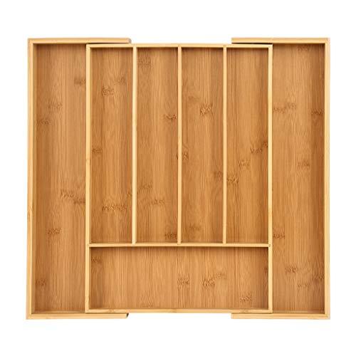 chenJBO Utensil Drawer OrganizerKitchen Drawer Tray Bamboo Silverware Box Bamboo Expandable Cutlery Tray Storage Box7 Compartments