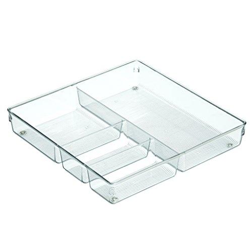 InterDesign Linus Kitchen Drawer Organizer for Silverware Spatulas Gadgets - 12 x 12 x 2 Clear