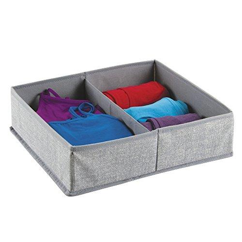 InterDesign Aldo Fabric Dresser drawer Storage Organizer for Underwear Socks Bras Tights Leggings - Large 2 Compartments Gray