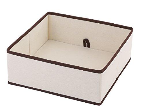 Ybm Home Fabric ClosetDresser Drawer Storage FoldableOrganizer Cube Basket containers Bin for Underwear Socks Bras Tights ScarvesTies Leggings Lingerie NaturalBrown Trim 2206 1 Large