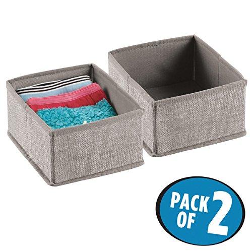 mDesign Fabric Dresser Drawer Storage Organizer for Underwear Socks Bras - Pack of 2 Small Linen