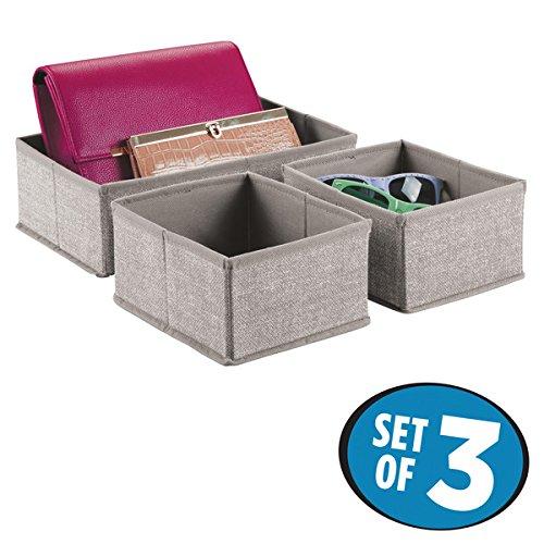 mDesign Fabric Dresser Drawer and Closet Storage Organizer for Underwear Socks Bras - Set of 3 Linen