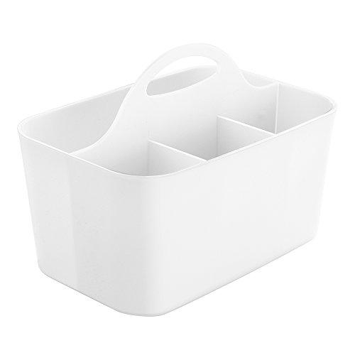 InterDesign Clarity Silverware Flatware Caddy Organizer for Kitchen Countertop Storage Dining Table - White