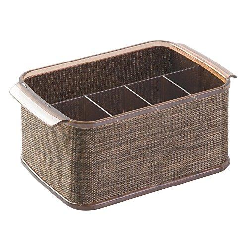 InterDesign Twillo Silverware Flatware Caddy Organizer for Kitchen Countertop Storage Dining Table - BronzeSand