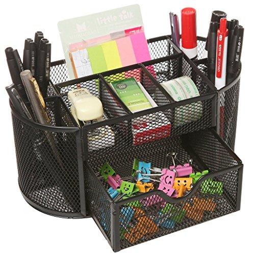Yiuswoy Multifunction 9 Gird Home Metal Mesh Desktop Organizer Office Supplies Desk Holder With Drawer - Black