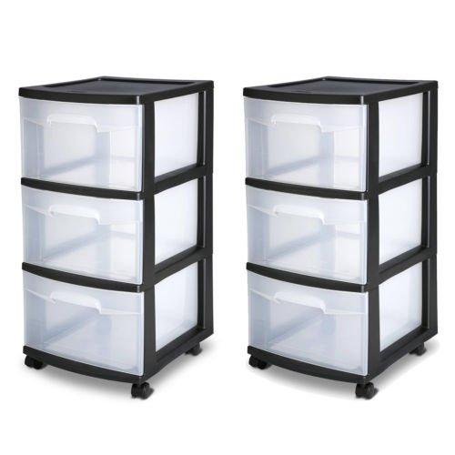 3 Drawer Organizer Cart Black Plastic Craft Storage Container Rolling Bin Set 2