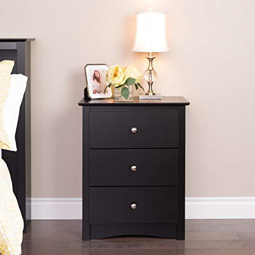 Black 3 Drawer Organizer 29X23 Inch Wood Storage Box Stylish for Dorm Room Bedroom Stylish Tall Cart Drawer Decorative Modern Chic