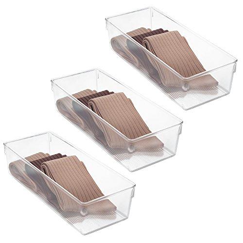 InterDesign Linus Dresser Organizer - Set of 3 12-inch by 5-inch by 3-inch Clear