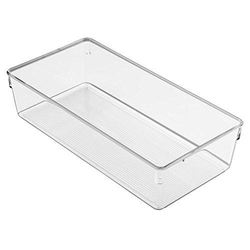 InterDesign Linus Dresser and Vanity Drawer Organizer 12-inch by 6-inch by 3-inch Clear