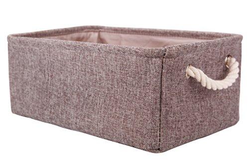 Perber Storage BasketsDecorative Collapsible Rectangular Linen Fabric Storage BinUnderwearTieBrasSocksCloset and Dresser Organizer