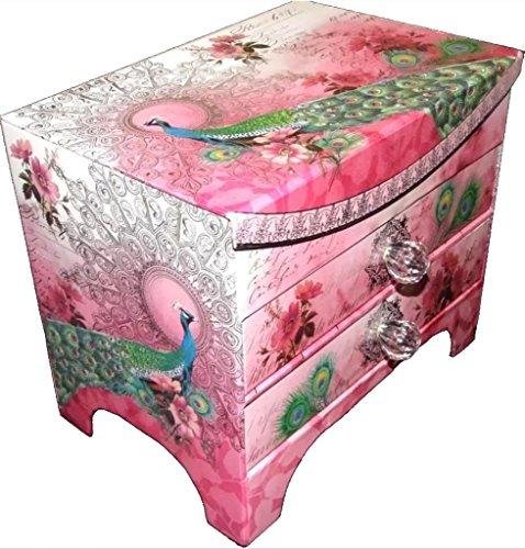 Punch Studio 2 Drawer Dresser Organizer Jewelry Box - Pink Silver Moon Peacock 10893